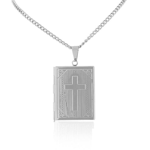 Stainless Steel Silver-Tone Religious Cross Bible Book Locket, 22""