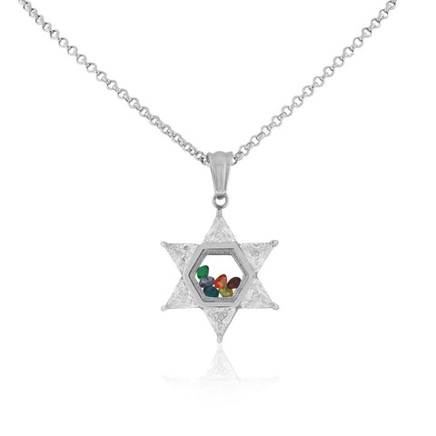 Stainless Steel Silver-Tone Clear Multicolor CZ Jewish Star of David Pendant Necklace, 20""