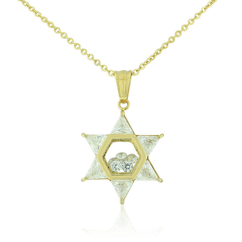 Stainless Steel Yellow Gold-Tone Clear White CZ Jewish Star of David Pendant Necklace, 20""