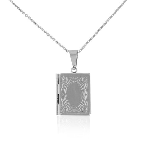 Stainless Steel Silver-Tone Book Locket, 20""