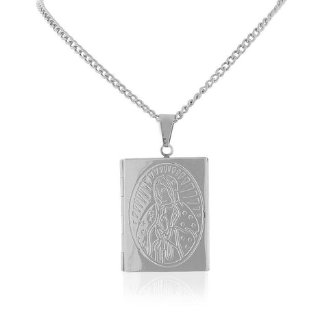 Stainless Steel Silver-Tone Religious Vergin Mary Bible Book Locket, 22""