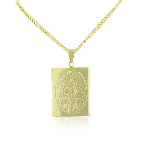 Stainless Steel Yellow Gold-Tone Religious Vergin Mary Bible Book Locket, 22""