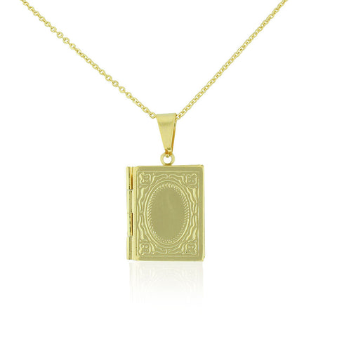 Stainless Steel Yellow Gold-Tone Book Locket, 20""