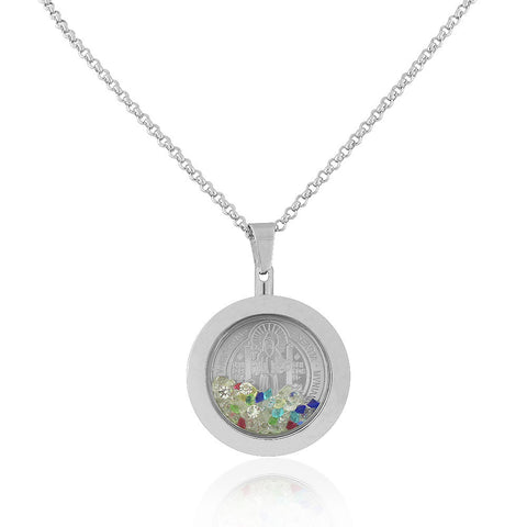 Stainless Steel Silver-Tone Multicolor CZ Religious Christian Pendant Necklace, 22""