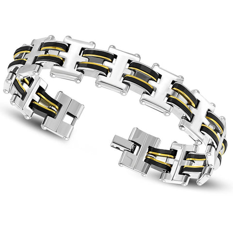 Stainless Steel Silve-Tone Gold-Tone Black Link Chain Men's Bracelet, 8.5""