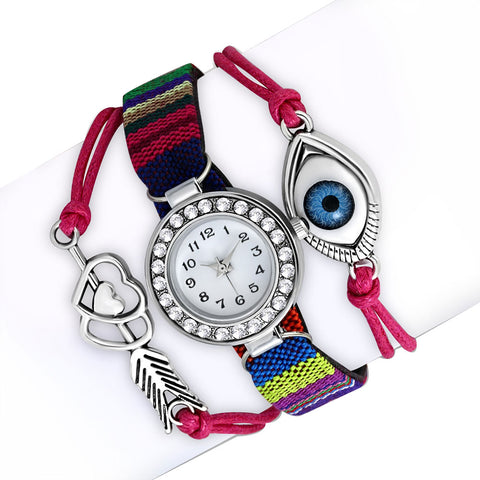 Fashion Alloy Red Pink Multicolor White Clear CZ Evil Eye Watch, 8.5""