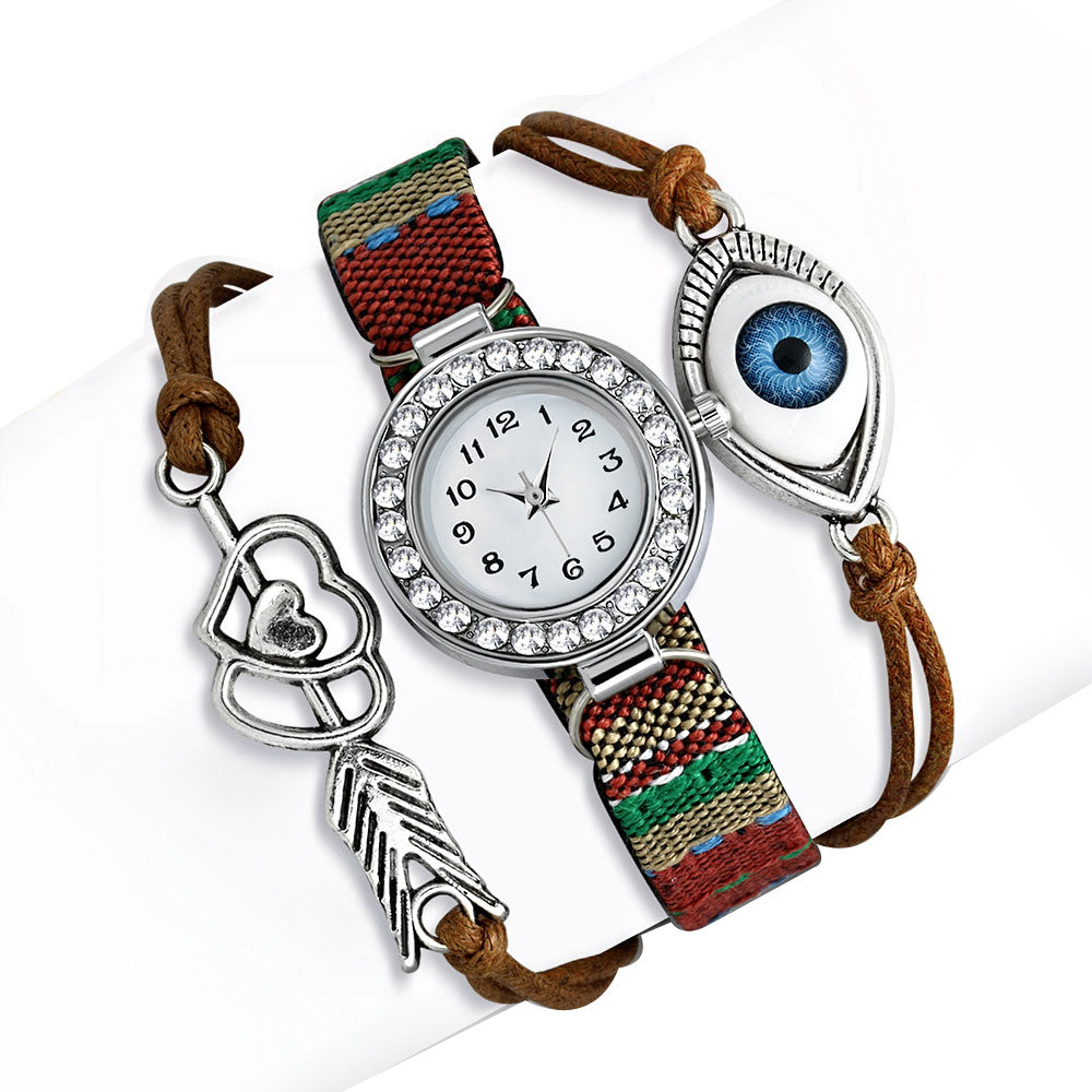 Fashion Alloy Brown Green Multicolor White Clear CZ Evil Eye Watch, 8.5""