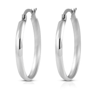 Stainless Steel Silver-Tone Classic Round Hoop Earrings, 1""