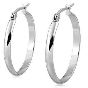 Stainless Steel Silver-Tone Classic Round Hoop Earrings, 2""