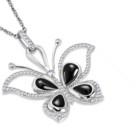 Stainless Steel Silver-Tone Black Simulated Gemstone White Clear CZ Butterfly Pendant Necklace, 19""