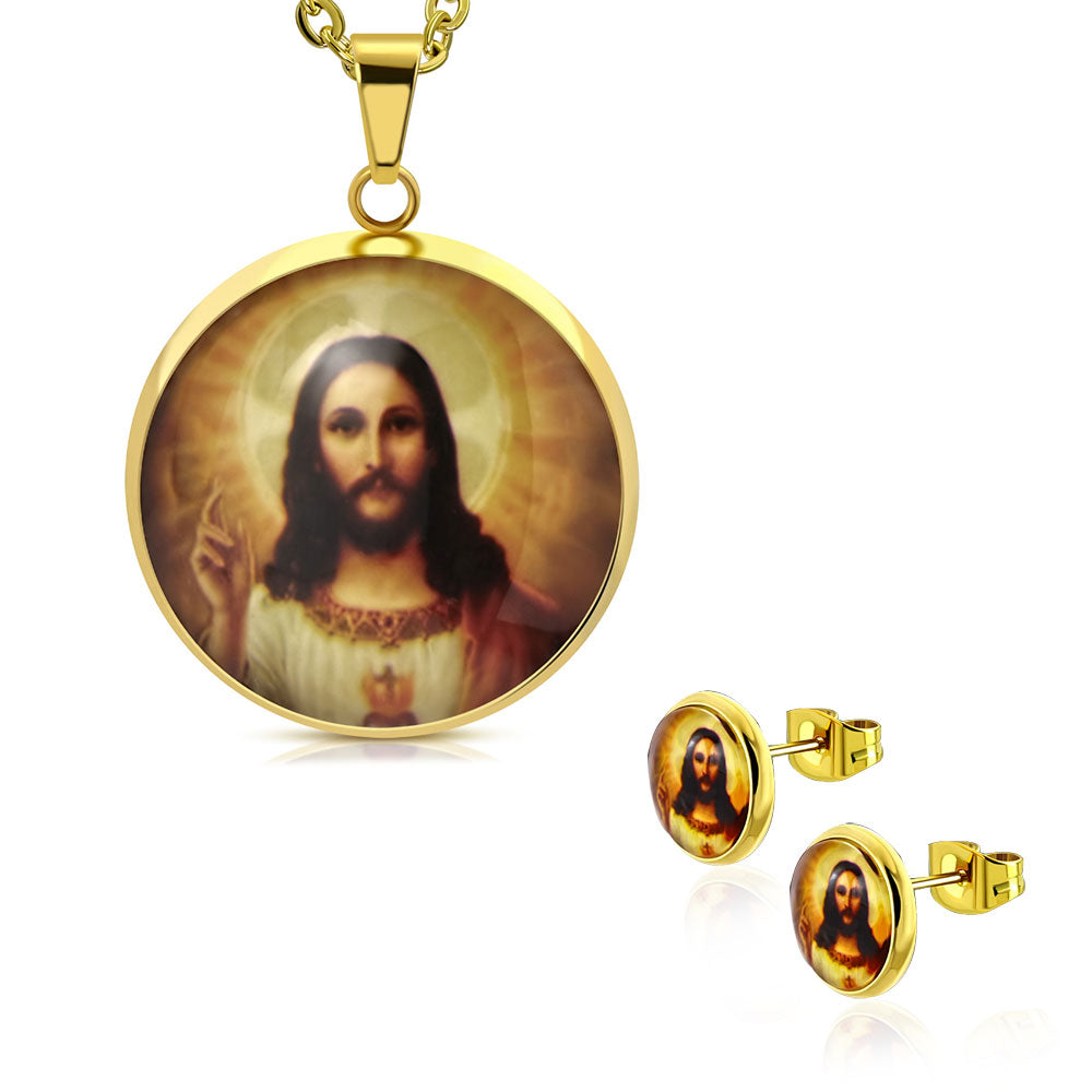 Stainless Steel Yellow Gold-Tone Religious Jesus Medallion Amulet Pendant Necklace Earrings Set, 20""