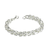 Stainless Steel Silver-Tone Men's Link Chain Bracelet, 9""