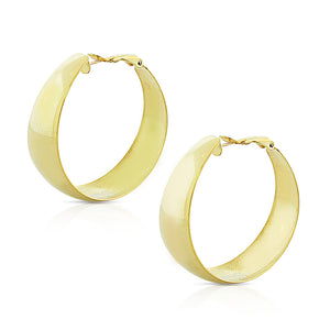 Stainless Steel Yellow Gold-Tone Classic Round Hoop Earrings, 1.60""