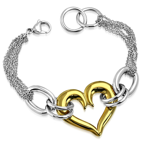 Stainless Steel Two-Tone Love Heart Link Chain Bracelet, 7.5""