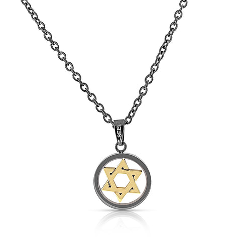 Stainless Steel Black Yellow Gold-Tone Jewish Star of David Men's Pendant Necklace, 24""