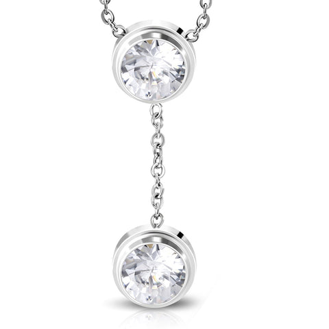Stainless Steel Silver-Tone White Clear Bezel-Set CZ Pendant Necklace, 18""
