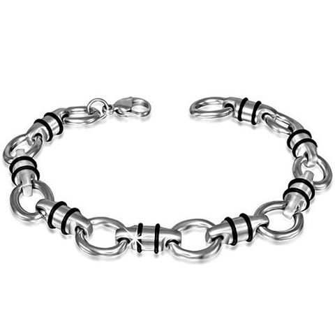 Stainless Steel Silver-Tone Black Men's Link Chain Bracelet, 8.25""