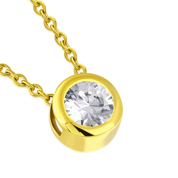 Gold Cubic Zirconia Solitaire Bezel Necklace Pendant Stainless Steel