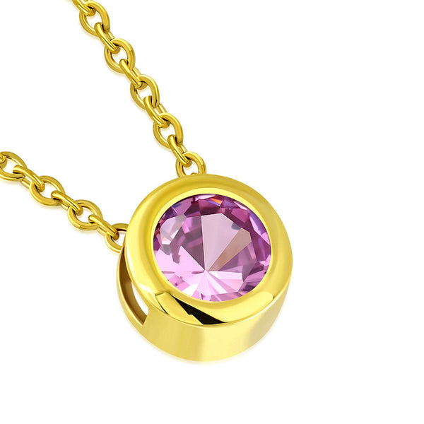 Gold Pink Solitaire Stone Necklace Pendant Stainless Steel