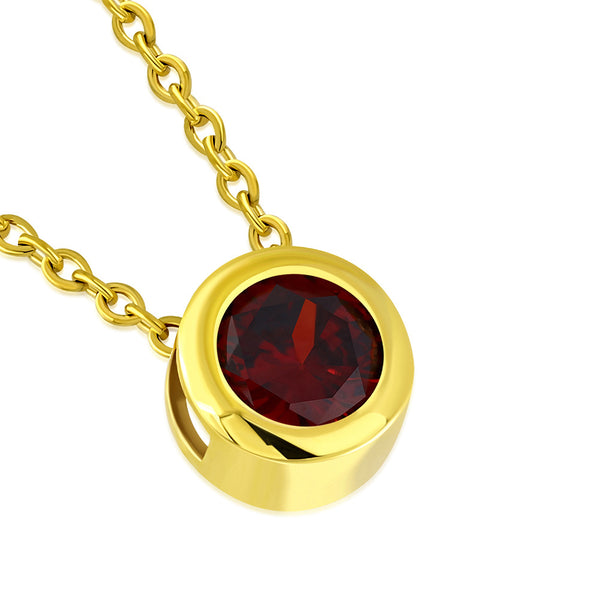 Gold Red Solitaire Stone Necklace Pendant Stainless Steel