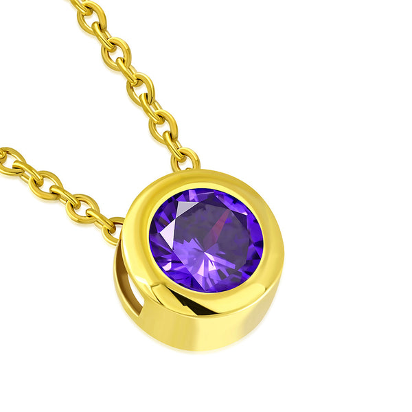 Gold Solitaire Purple Stone Necklace Pendant Stainless Steel