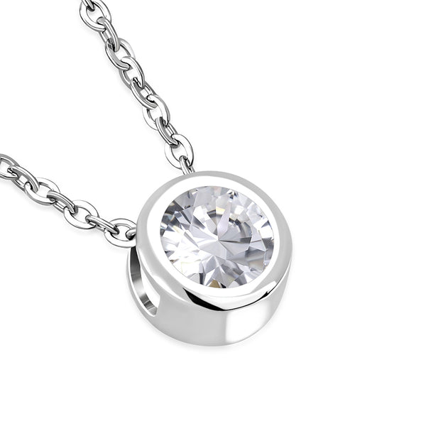 Solitaire Cubic Zirconia Bezel set Necklace Pendant Stainless Steel