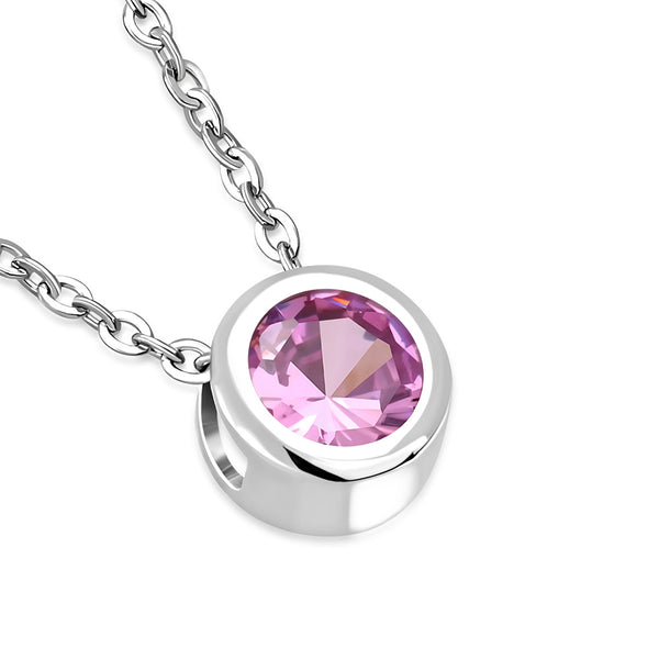 Pink Solitaire Necklace Pendant Stainless Steel