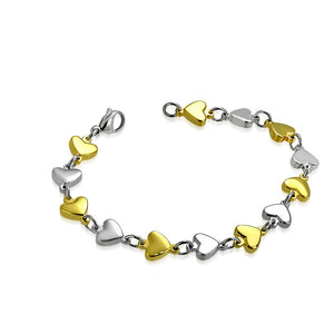 Two-Tone Love Heart Link Chain Bracelet