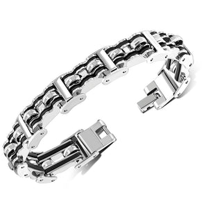 Stainless Steel Silver-Tone Black Link Men's Bracelet