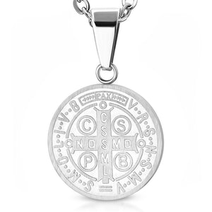 Stainless Steel Religious Charm Circle Cross Pendant Necklace