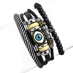 Fashion Leather Evil Eye Protection Bracelet Set