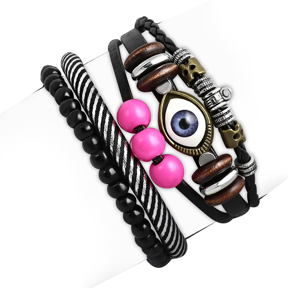 Fashion Pink Black Silver-Tone Leather Evil Eye Protection Bracelet Set