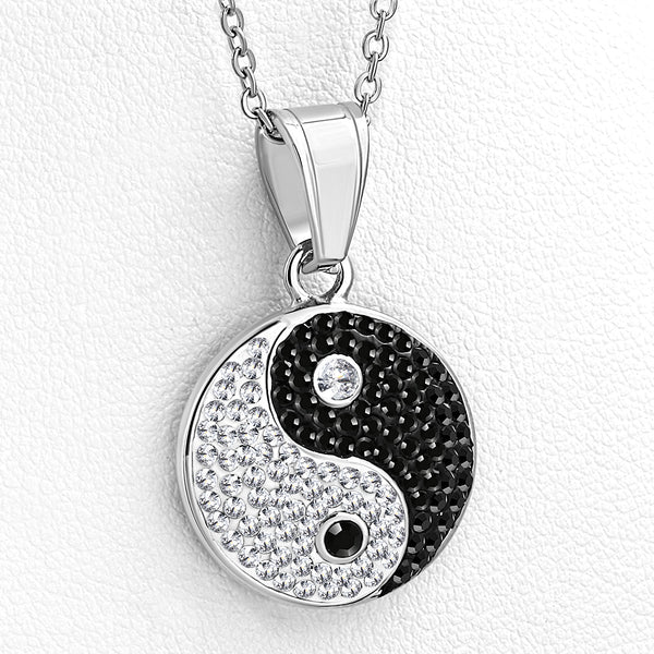 Yin and Yang White Black CZ Classic Pendant Necklace