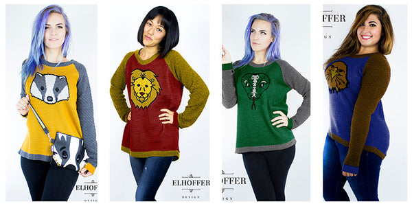 Hogwarts house themed knitted sweaters by Elhoffer Design