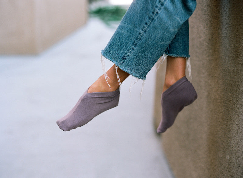 v neck sock - mauve