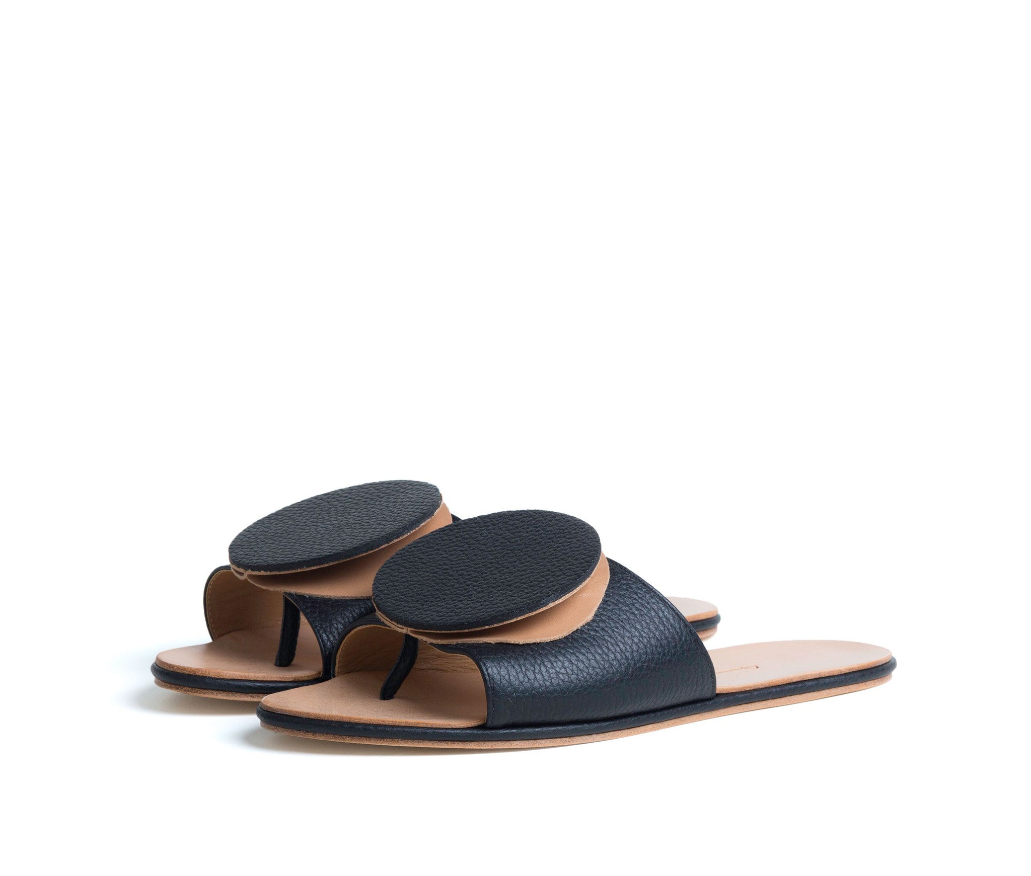 caeleste slide sandal - black pebbled / tan smooth leather