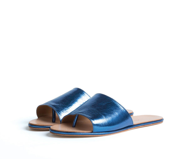 caelum slide sandal - blue metallic leather