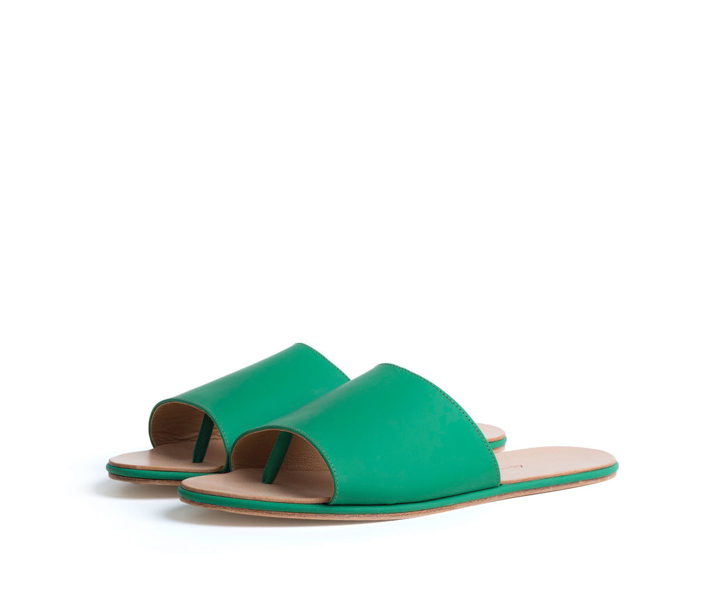 caelum slide sandal - green super matte leather