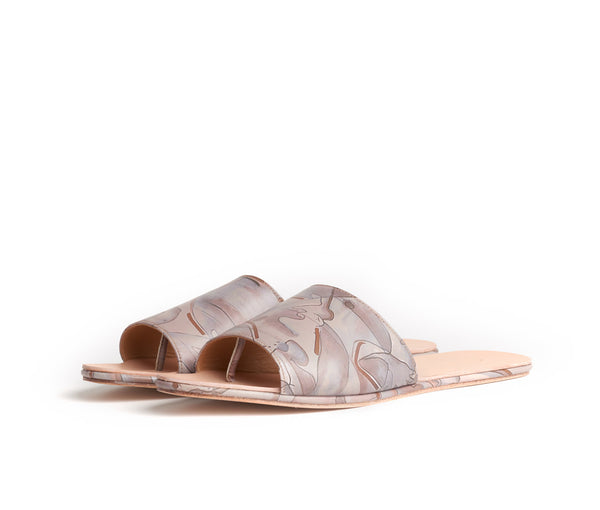 caelum slide sandal -  habitus print leather (amanda antunes collaboration)