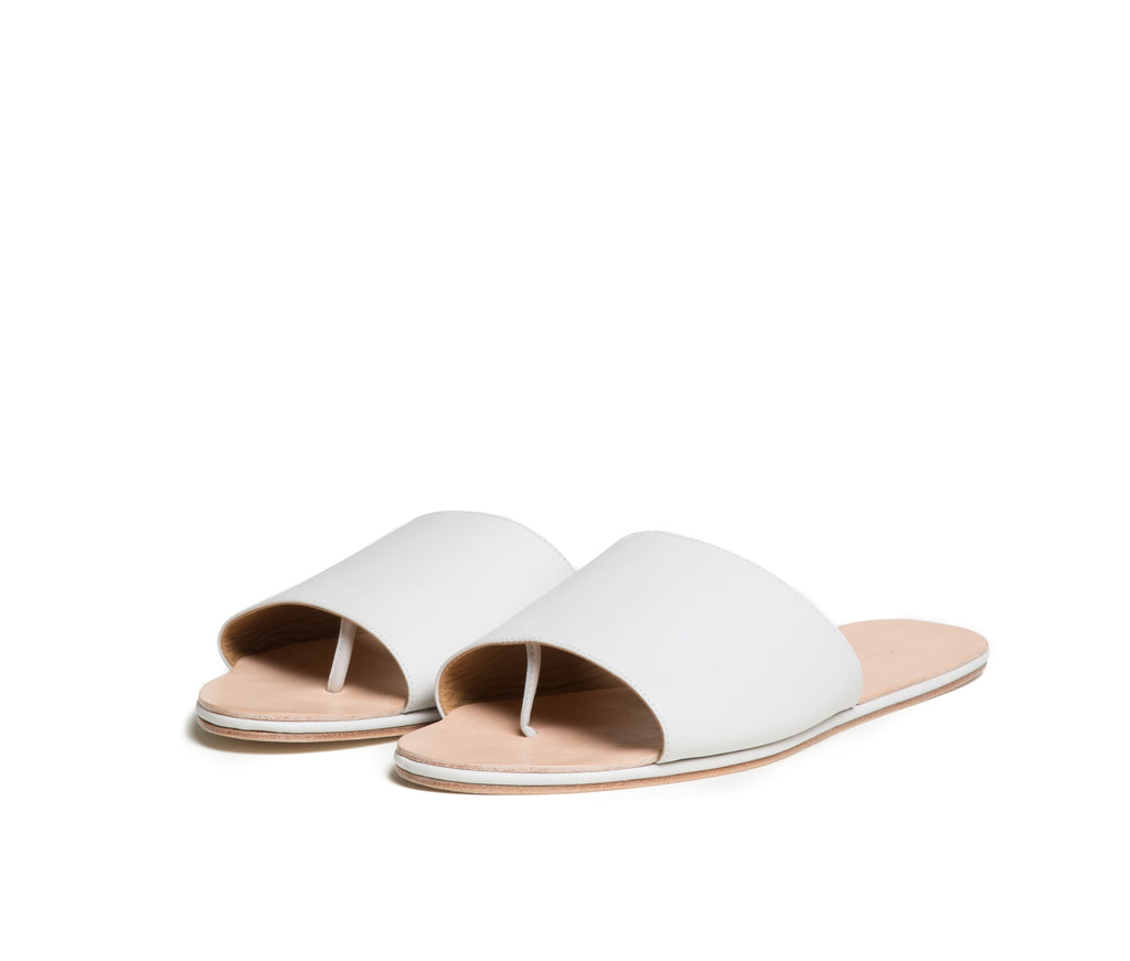 caelum slide sandal - lunar white nappa leather