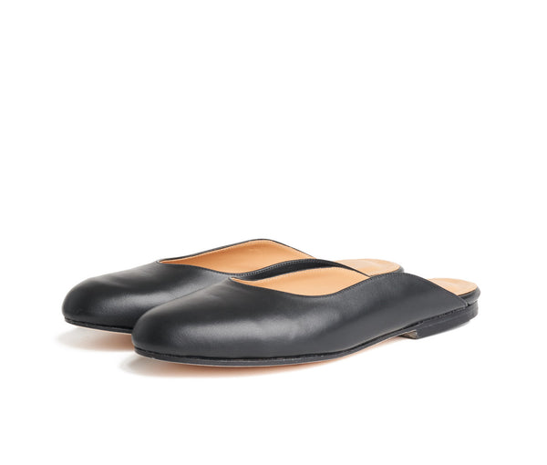 maxime mule -  black smooth leather