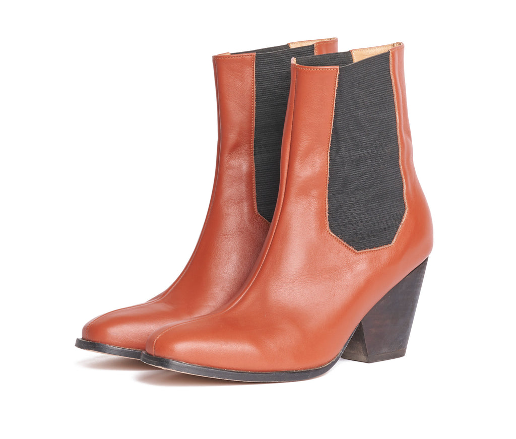 inergia-duo chelsea boot - rosewood nappa leather w brown wood heel