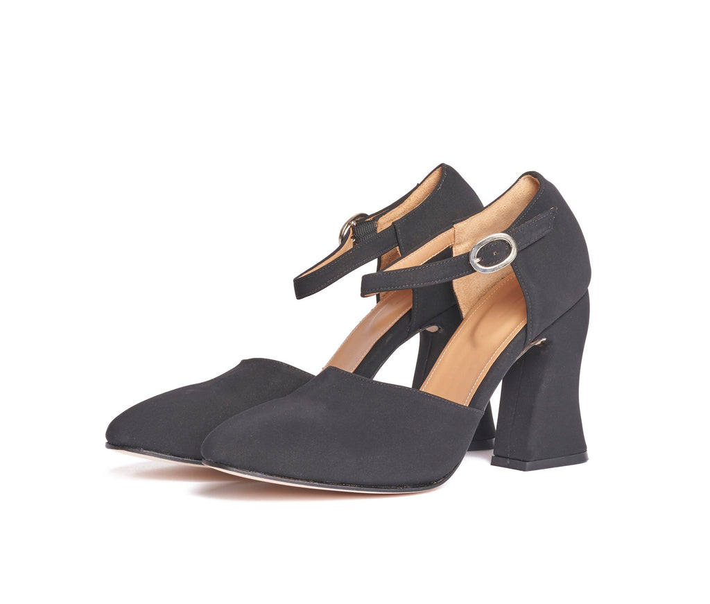 dama curved heel d'orsay mary jane  - black textile