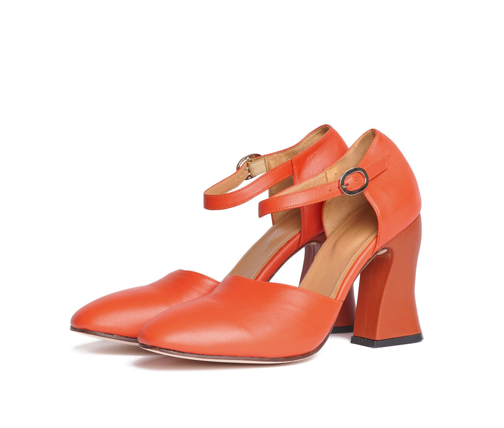 dama curved heel d'orsay mary jane  - pomegranate nappa leather