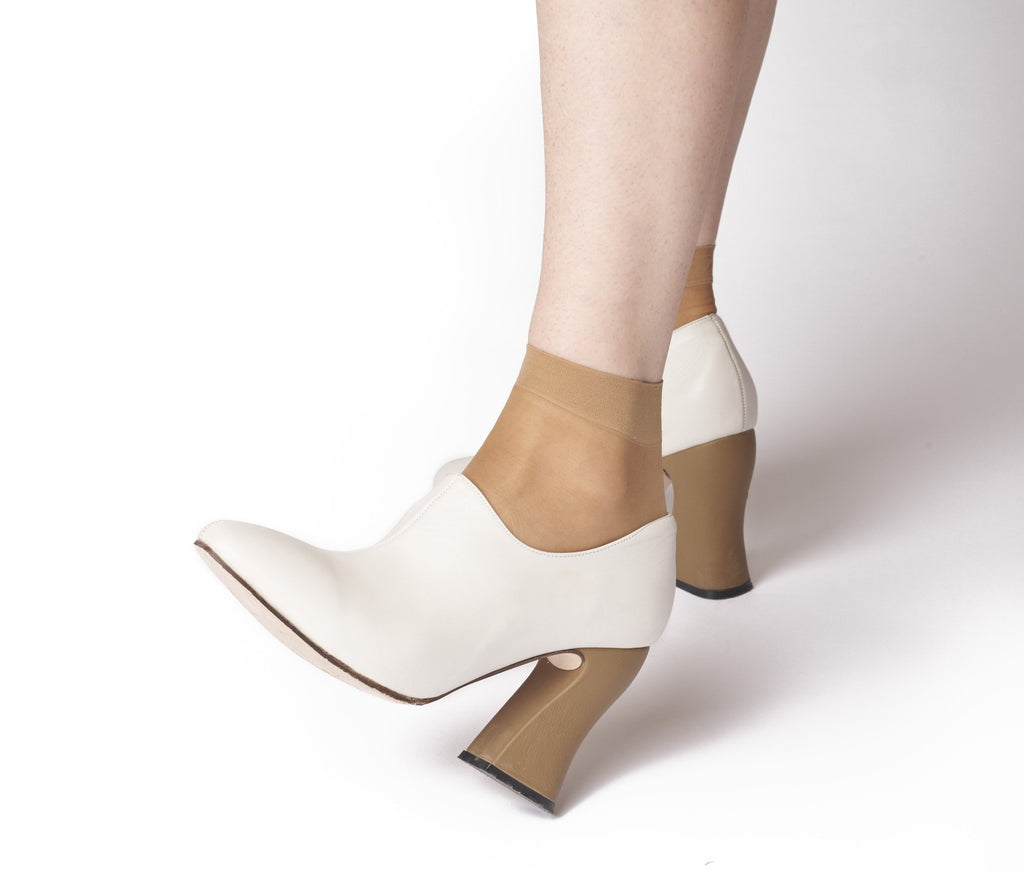 dialion curved heel bootie - lunar w cypress textured leather heel