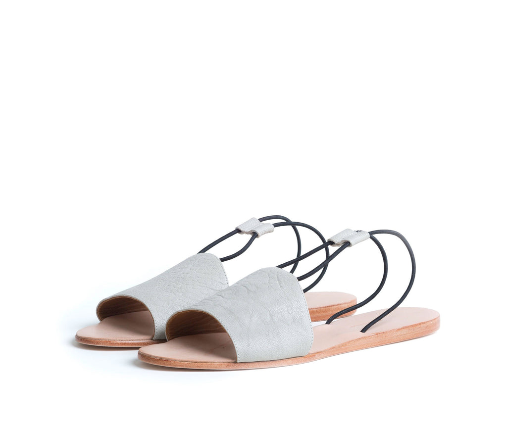refero sandal - beige leather w black elastic