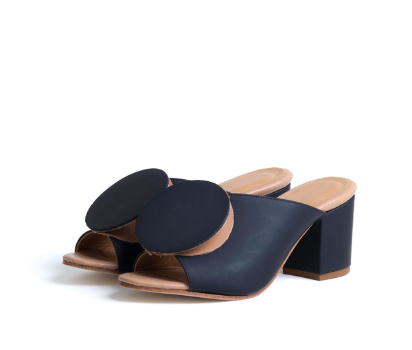 salio mule w block heel & origami ornament - black super matte w tan smooth leather