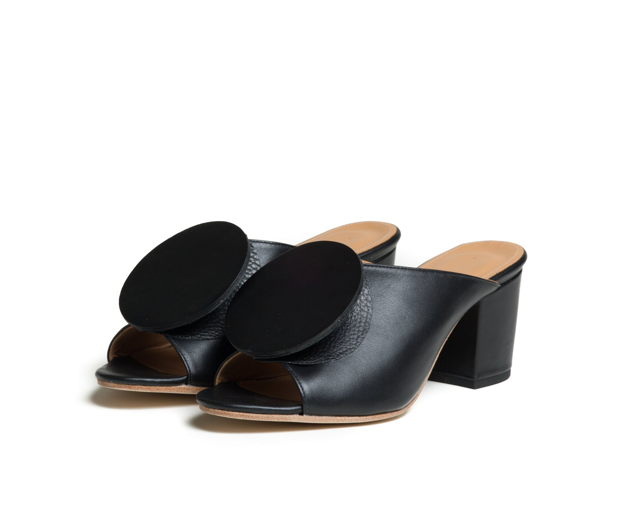 salio mule w block heel & origami ornament - black smooth with black pebbled leather