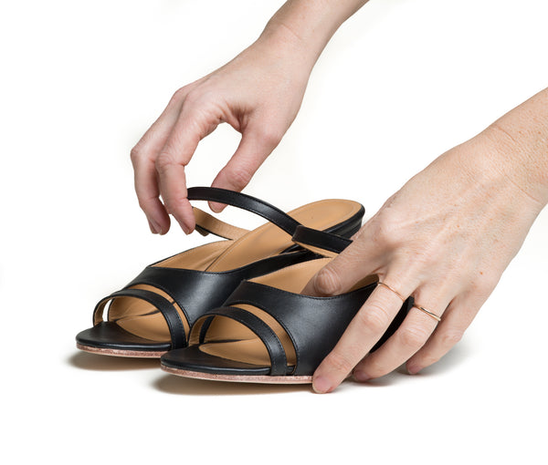seta three piece buckled slide sandal with wood heel - black smooth leather