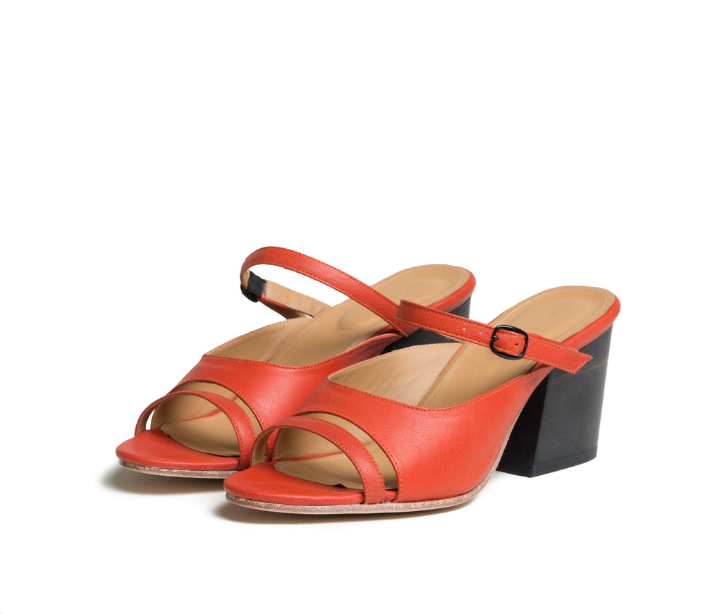 seta three piece buckled slide sandal with wood heel - saffron smooth leather